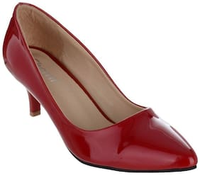 SHERRIF SHOES MAROON LOW HEELED PUMPS