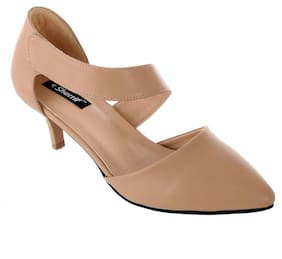 Women Sherrif Shoes Beige Faux Leather Heels