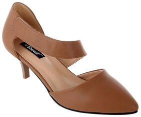 Women Sherrif Shoes Tan Faux Leather Heels