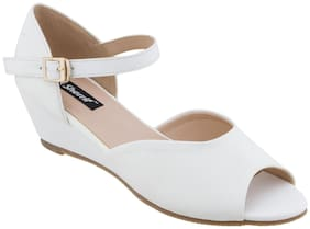 Sherrif Women'S White Wedge Heel Sandals