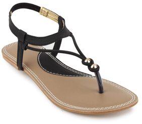 Shezone Women Black Flats/Sandal (Size-37)