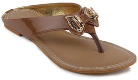 Shezone Women Brown Flats (Size-36)