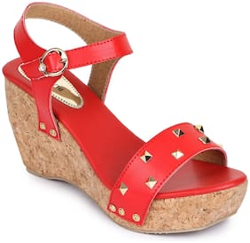 Shezone Women Red Wedges