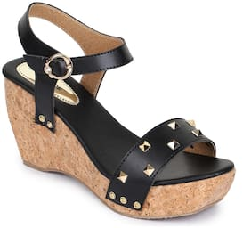 Shezone Women Black Wedges