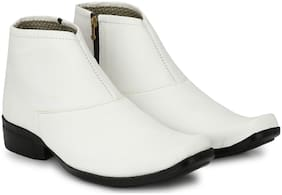 Shoe Island   POPULAR Chelsea-X   White Leatherette Zipper High Ankle Length Casual Chelsea Boots