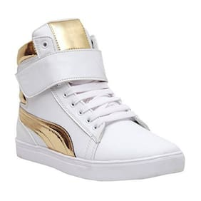 Shoe Island   POPULAR Icon-X   Designer Leatherette High Ankle Length Velcro White Shinning Gold Casual Dance Sneakers