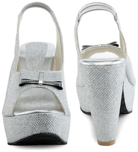 Shoe Lab Women Silver Wedges