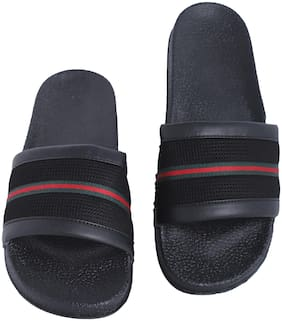 Shoe Mate Men Black Sliders - 1 Pair