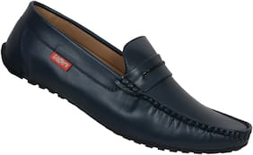 SHOES KINGDOM Men Navy Blue Loafers