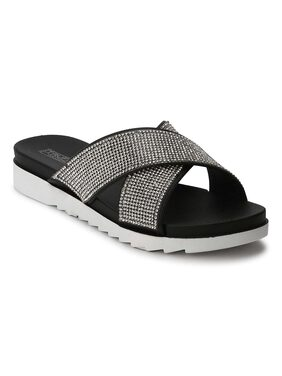 Truffle Collection Silver Black Diamante  Crossover Slip-On Flats