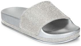 Truffle Collection Silver Diamante  Flats