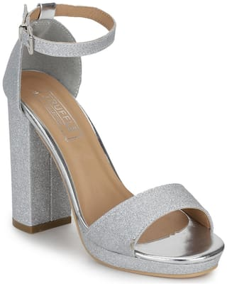 Silver Glitter Pumpped Ankle Strap Block Heels
