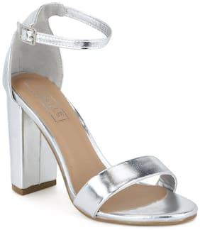 Silver Metallic Weave Block Heel Sandals