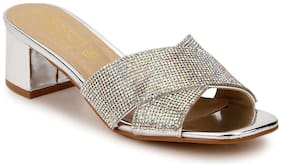 Truffle Collection Silver Mirror Crossover Low Block Heels