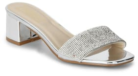 Truffle Collection Silver Mirror Low Block Sandal Heels
