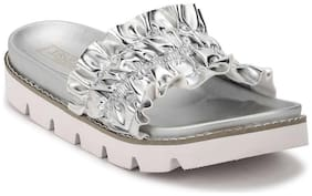 Truffle Collection Silver PU Ruffled Slip-On Flats