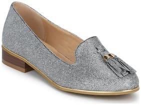 Silver Shimmer Tassel Belly Flats