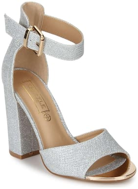 Truffle Collection Silver Shimmer Ankle Strap Block Heels