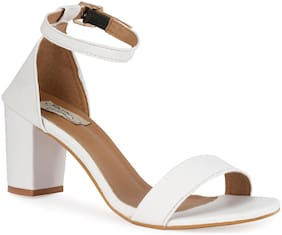 Sindhi Footwear Women White Heeled Sandals -