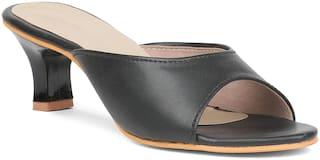 Sindhi Footwear Women Black Synthetic Leather Sandals
