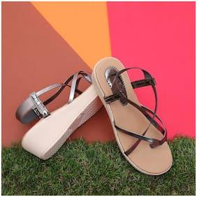 Sindhi Footwear Bronze Faux Leather Women Wedges