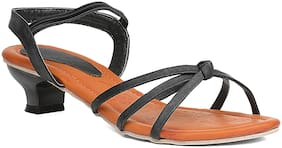 Sindhi Footwear Black Faux Leather Women Heels