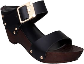 Sindhi Footwear Black Faux Leather Women Wedges