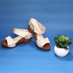 Sindhi Footwear Beige Faux Leather Women Wedges