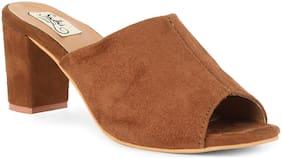 Sindhi Footwear Men's Beige Faux Leather Heel Sandal