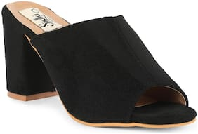 Sindhi Footwear Women Black Heeled Sandals -