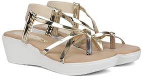 Sindhi Footwear Gold Faux Leather Women Wedges