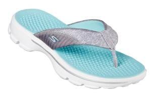 20496c8e8 Buy Skechers Women s Go Walk Pizazz Grey   Aqua Slippers Online at ...