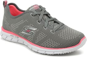Skechers Women's Gray/Coral GLIDER - FOREVER YOUNG Mesh Sport Shoes