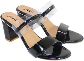 Skoll Women Black Heeled Sandals