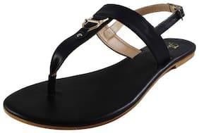 Snasta Women Black T-Strap Flats