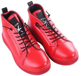 Men Red Slip-On Sneakers