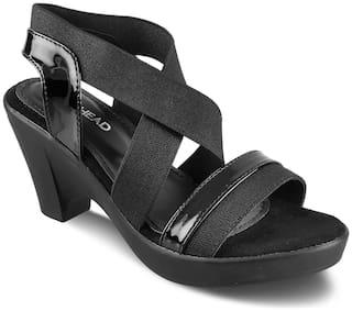 SOLE HEAD Women Black Heeled Sandals
