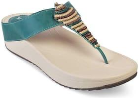 SOLE HEAD Women Green T-strap flats
