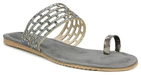 Sòlofas Women Grey One Toe Flats