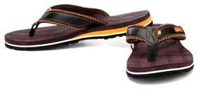 Sparx Men's Black & Brown Slipper (SFG-539)