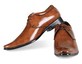 Steemo Tan Genuine Patent leather Shoes