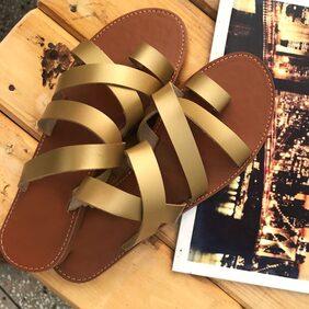 STREETSTYLESTORE Women Gold Flats & Sandals