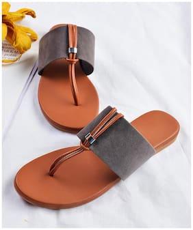 STREETSTYLESTORE Women Synthetic Flats & Sandals-Grey