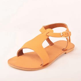 STREETSTYLESTORE Women Tan Flats & Sandals