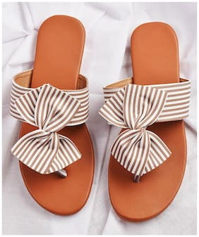 STREETSTYLESTORE Synthetic Brown & White Flats & Sandals For Women