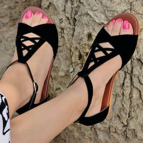 STREETSTYLESTORE Women Black Flats & Sandals
