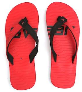 Svaar Men's Red and Black Flip Flops