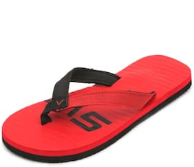 Svaar Men's Red and Black Flip Flops