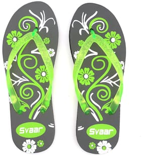 SVAAR Women Printed Flip flops - Uk 8 , Grey