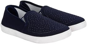 Women Solid Loafers ( Blue )